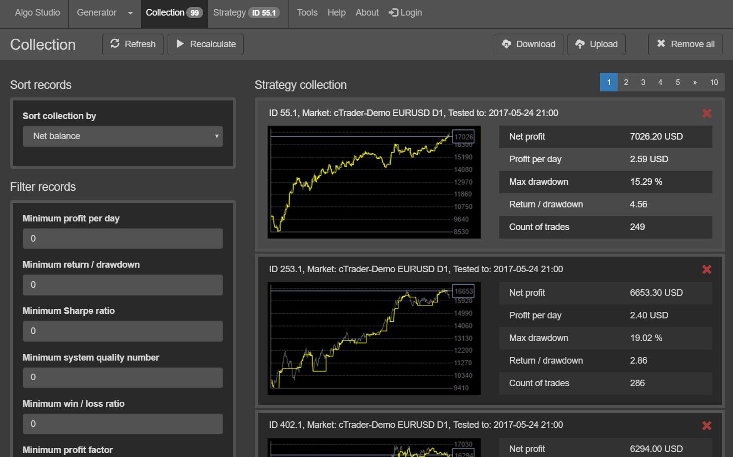 Algo Studio - Collection Screenshot