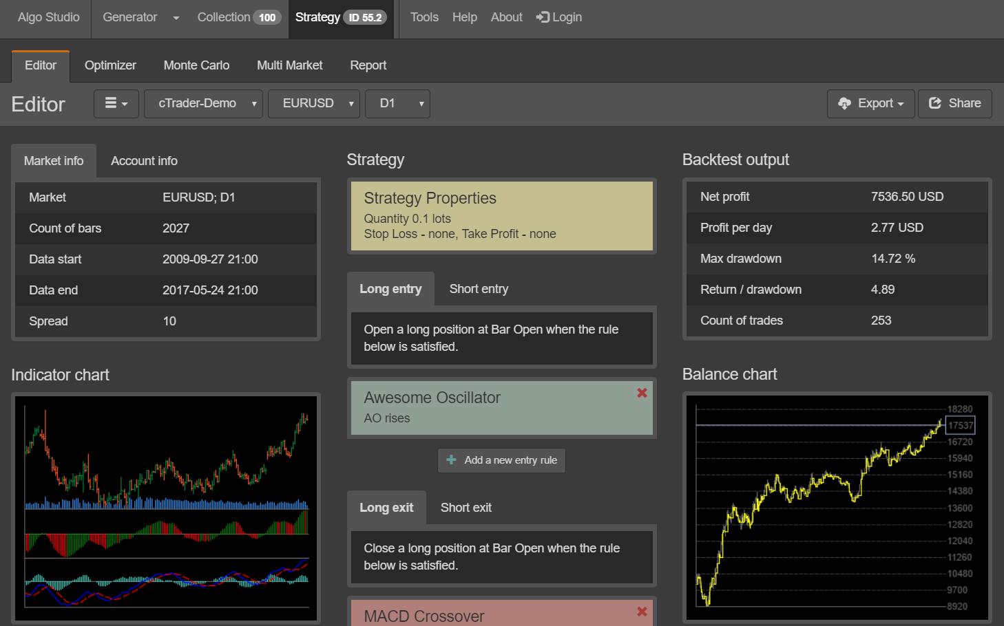 Algo Studio - Editor Screenshot