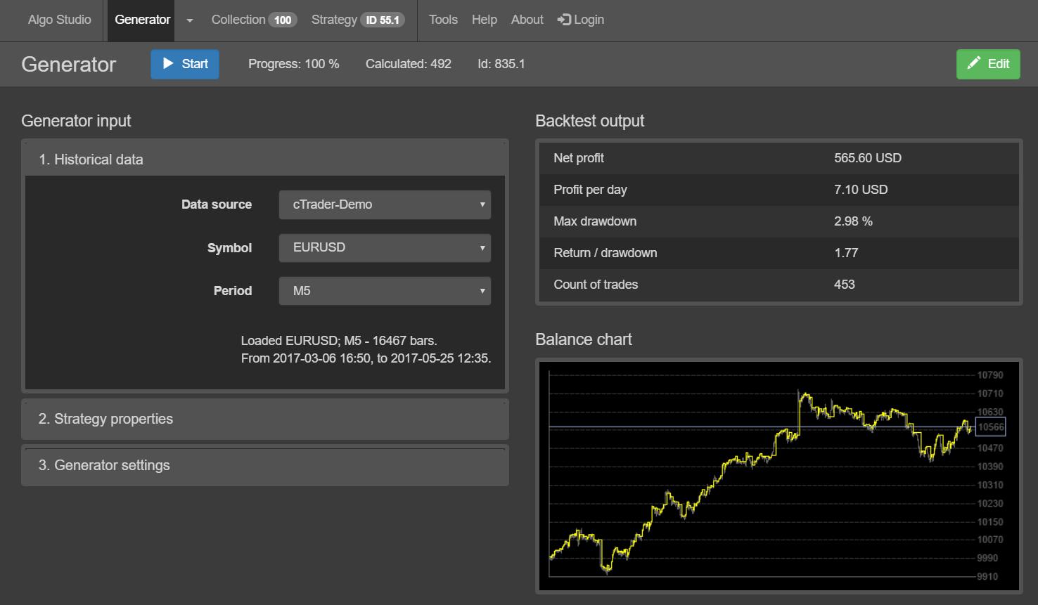 Algo Studio - Generator Screenshot