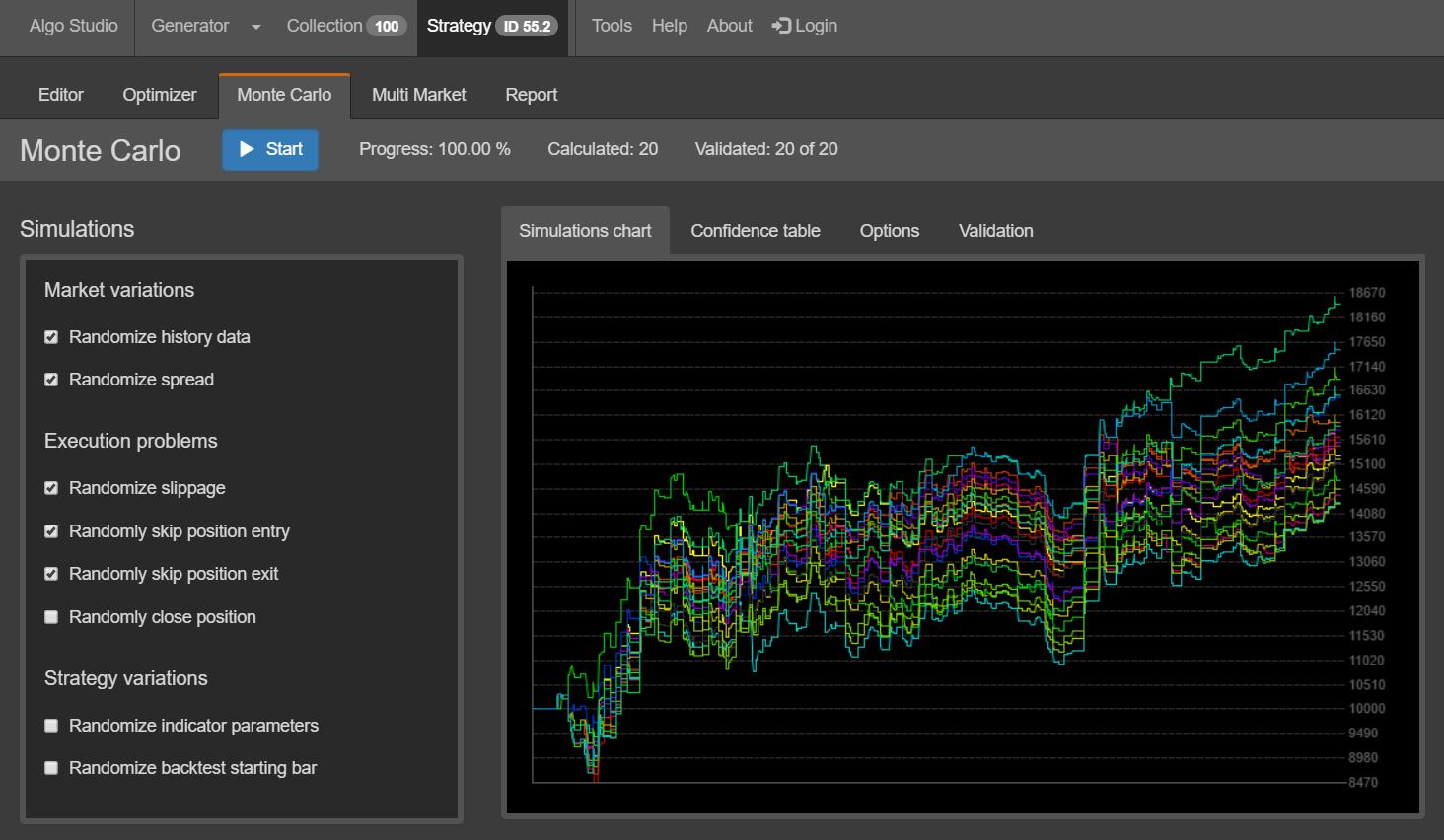 Algo Studio - Monte Carlo Screenshot