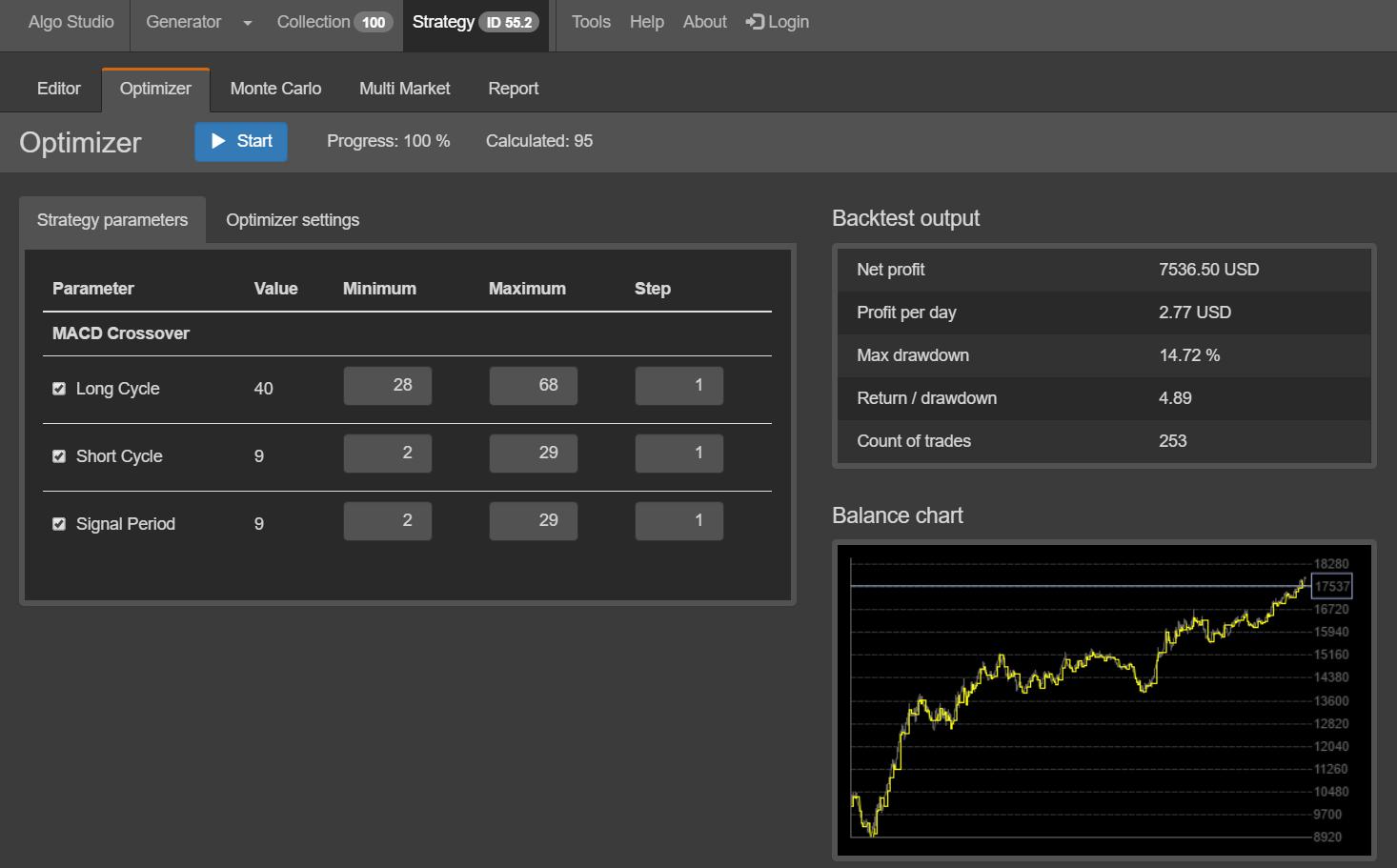 Algo Studio - Optimizer Screenshot