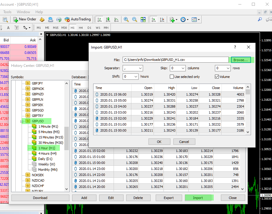 Import Historical Forex Data in MetaTrader