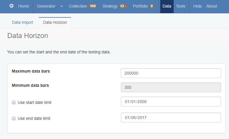Histórico de cotações Page