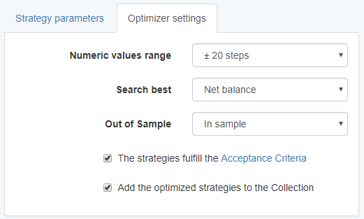 Optimizer Settings