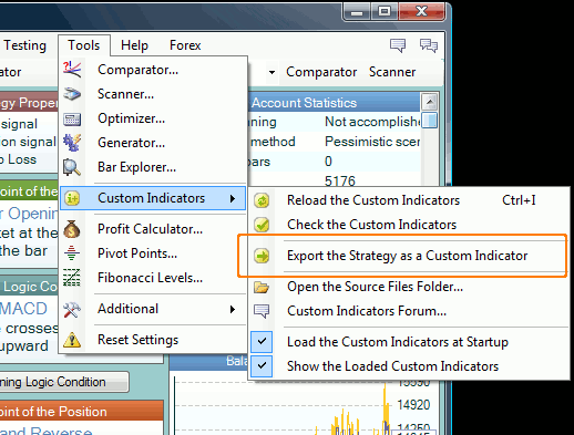 Export the Strategy as a Custom Indicator