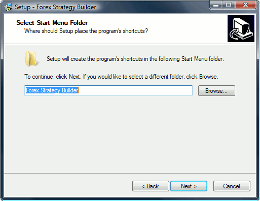 Windows Start Menu folder selection