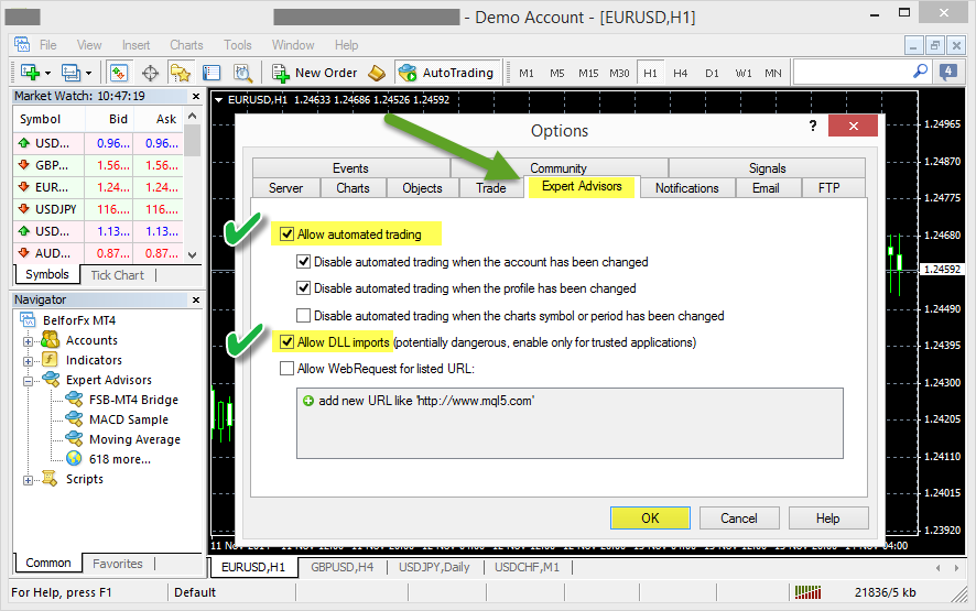MetaTrader 4 Expert Settings
